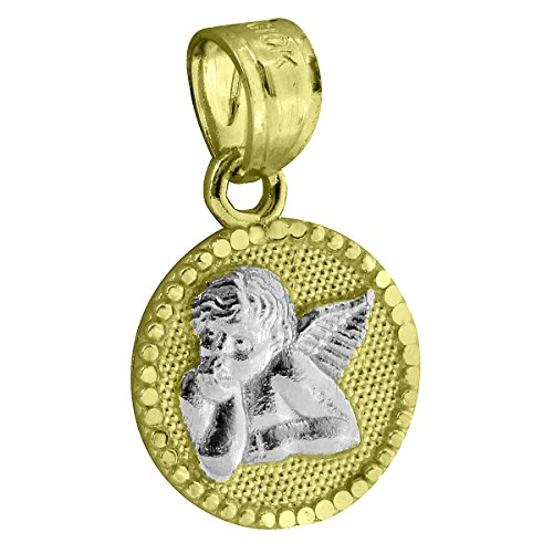 Guardian Angel Pendant 10k Yellow White Gold Round Charm Mens Womens 0.6 Inch
