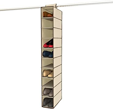 Amazon Com Ziz Home Hanging Shoe Organizer For Closet 10 Shelf Tough Breathable Fabric Anti Mold 12 X6 X47 Closet Shoe Organizer Hanging Shoe Storage Hanging Shoe Holder Shoes Sorter Shelves Rack Hanger