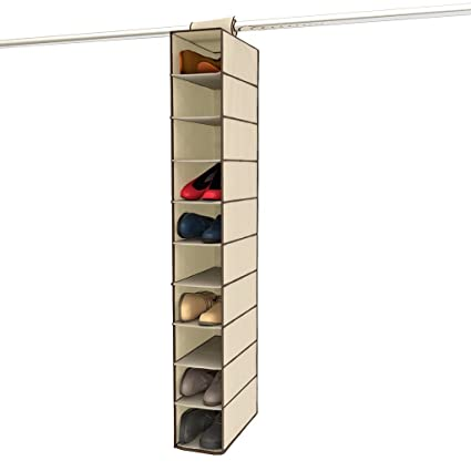 Ziz Home Hanging Shoe Organizer For Closet, 10 Shelf, Tough Breathable  Fabric Anti
