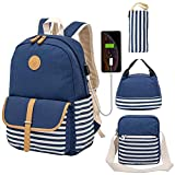 Kuston School Backpacks for Women Teen Girls with USB Charging Port Lightweight Canvas Bookbag Set 4 in 1