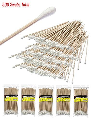 """SE CS100-6-5 6"""" Cotton Swabs with Wooden Handles (5 Pack of 100)"""
