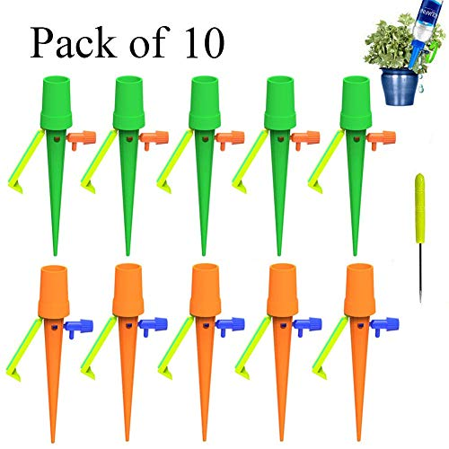 Vacation Watering Plants Water Spikes - [Upgraded Version] Automatic Drip Irrigation with Slow Release Control Valve Switch and Bracket for Indoor Outdoor, Fit for Most Bottles ( Pack of 10)