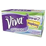 VIVA On-the-Go Napkins, 1-Ply, 8 1/10 x 10, White, 65 Sheets/Box