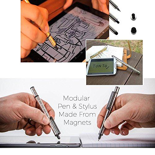 Magnetic Polar Pen, Stylus Pen, Magnet Gel Pen and Touch Screen Pen, Fidget Toy, can be Transformed into a Variety of Creative (Silver) by Empowline (Image #2)