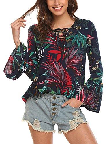 SE MIU Women Fashion 1/4 Sleeve Slim Loose V Neck Buttons Blouse Tops Shirt PAT1 - Sale Miu Miu Clothing