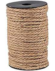MQUPIN 5mm,82 Feet Natural Jute Twine,DIY Cat Scratcher Sisal Rope,Natural Jute String Arts & Crafts Twine for Gift Wrapping,Picture Display,Wedding Decoration and Garden