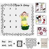 Baby Milestone Blanket Backdrop Premium Soft Fleece W/Bonus Photography Cards & Frame for Creative Moms, Unisex, Newborns to 12 Years, Boy Girl Shower Gender Reveal w Storage Bag
