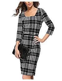 William&Lisa Womens Black white sub-box Long Sleeve Work Business Office Dress