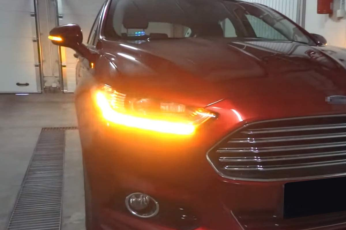 2015-2018 C-Max 2013-2019 Escape iJDMTOY Smoked Lens Dynamic Sequential Blink LED Side Mirror Turn Signal Light Strip Assembly Compatible With Ford 2012-2018 Focus