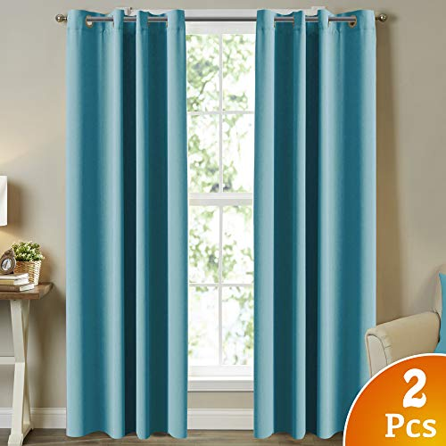 Turquoize Solid Grommet Thermal Insulated Blackout Curtains for Living Room/Patio, Noise Reducing Aqua Curtains Thermal Insulated Blackout Panels/Drapes for Nursery, 52