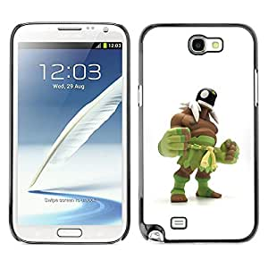 Planetar® ( Green Monster Wrestling White Man ) SAMSUNG Galaxy Note 2 II / N7100 Fundas Cover Cubre Hard Case Cover