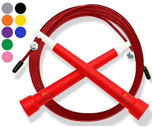 UPC 630158473120, Wacces Premium Quality Adjustable Double Unders High Speed Jump Rope for Boxing, Martial Arts and Fitness (Red)