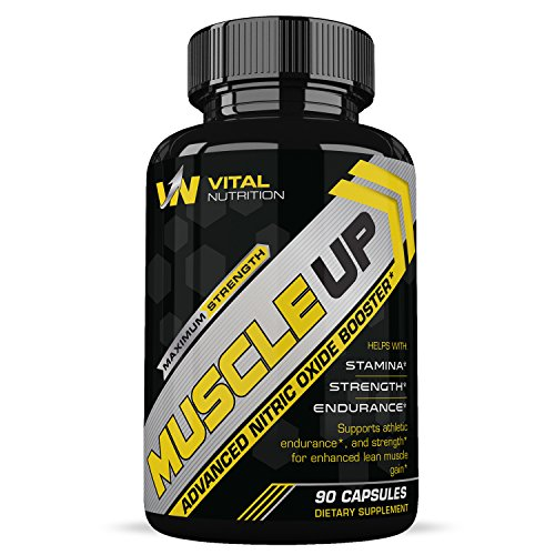 MUSCLE UP L-Arginine - 2400mg Nitric Oxide Booster Supplement for Lean Muscle Growth (90 Ct) - Pre Workout Formula - Natural Stamina, Endurance & Strength Booster - Promotes Weight Loss & Fat Burning