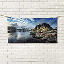 Chaneyhouse Island,Travel Towel,Fishing Hut Photo in Autumn with Rocks and Clouds Scenery Northern Norway Cold,Quick-Dry Towels,Blue Grey White Size: W 14