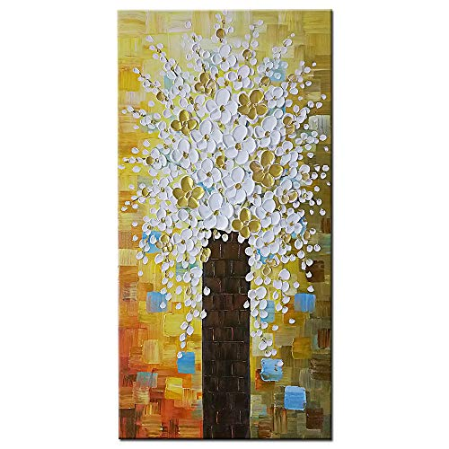 - OKBONN-Abstract Hand Painted Oil Paintings White Flowers Canvas Wall Art Plum Trees Texture Modern Home Decor Artwork for Living Room
