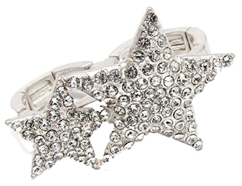 Silver Two Finger Ring (Double Star Two Finger Ring C24 Clear Crystal Matt Silver Tone)