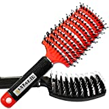 Detangler Brush Natural Boar Bristle, Set of 2, for Men, Women or Kids with Thick or Curly Hair with Vented Paddle