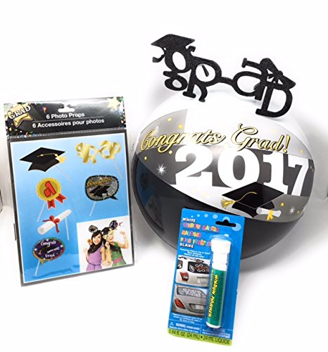 GRAD POOL PARTY Pack Essentials - Pool/Beach Party 2017- 1 Beach Ball, 1 Grad Glasses, 6 Photo Props, and 1 Window Marker (Jumbo White Bunny Kit)