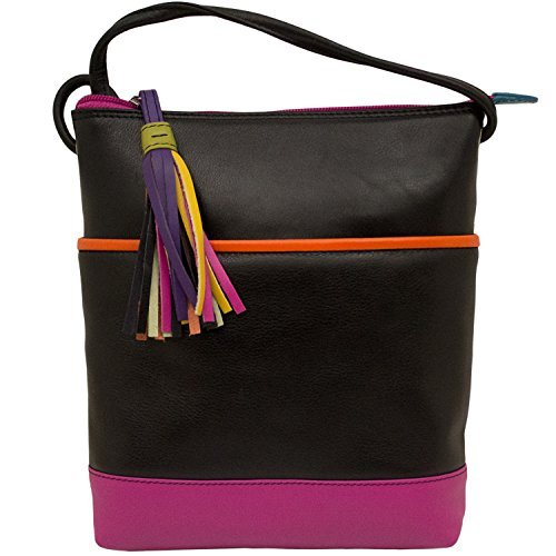 Leather Color-block Mini Sac Cross-body Handbag (Black Brights)