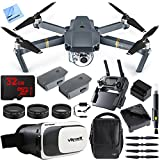 DJI Mavic Pro Quadcopter Drone Fly More Combo Pack with 4K Camera and Wi-Fi, 3 Batteries, Custom Case, Charging Hub, Three Piece Multi Coated Filter Kit VR Goggles Virtual Reality Experience