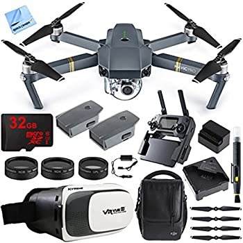 DJI Mavic Pro Quadcopter Drone Fly More Combo Pack with 4K Camera and Wi-Fi , 3 Batteries , DJI Custom Case , Charging Hub , Three Piece Multi Coated Filter Kit VR Goggles Virtual Reality Experience