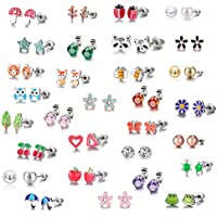 Tamhoo 30-Pairs Stainless Steel Earring Set (Mixed Color)(Animal Tree Pearl)