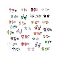 30 Pairs Stainless Steel Mixed Color Cute Animals Fox Heart Star Ladybug Bee Frog Mushroom Tree...