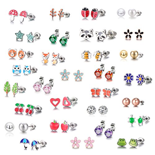 30 Pairs Stainless Steel Mixed Color Cute Animals Fox Heart Star Ladybug Bee Frog Mushroom Tree Daisy Umbrella Rose Gold White Pearl CZ Jewelry Stud Earrings Set (animal tree pearl) ()