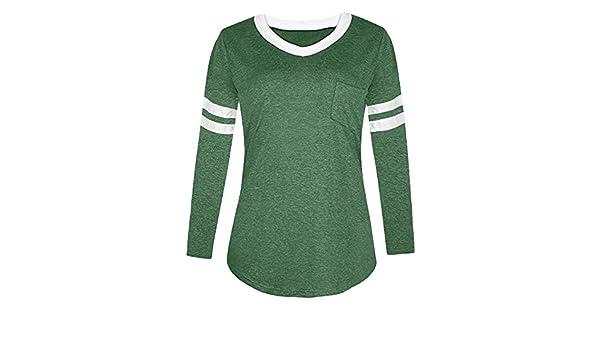 Mujer y Niña otoño fashion,Sonnena ❤ Blusa con cuello en V casual mujer otoño verano encantadora blusa de manga larga con bolsillo atractivo blusa Tops T ...