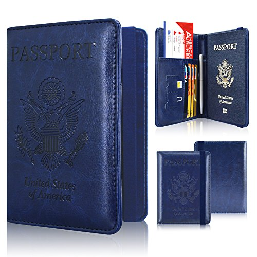 Passport Holder Cover, ACdream Travel Leather RFID Blocking Case Wallet for Passport with Elastic Band Closure, Dark Blue