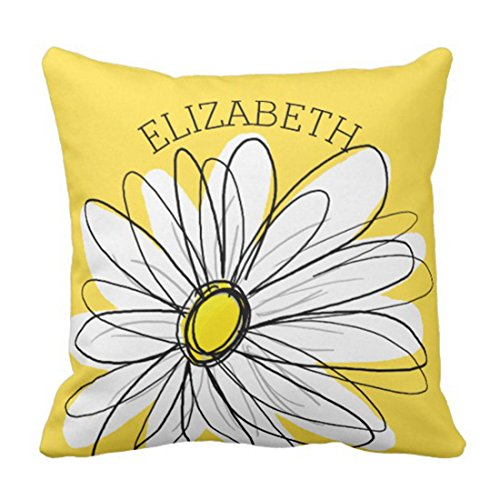 - Nextchange Yellow and White Whimsical Daisy with Custom Text Floral Cotton Creative Design Pillowcase (Two Sides) Pillow Cover Great Festival Gift