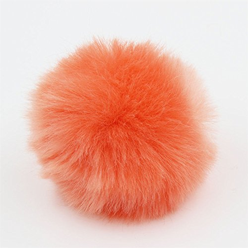 2pcs DIY Faux Fur Pom Pom Ball - 3inch- for Knitting Hat Supplies (Coral) -  Furling