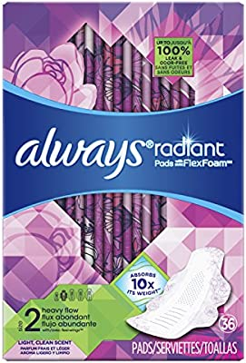 Amazon.com: Always Radiant Size 2 Extra Heavy Flow, Light Clean Scent, 36 Pads: Health & Personal Care