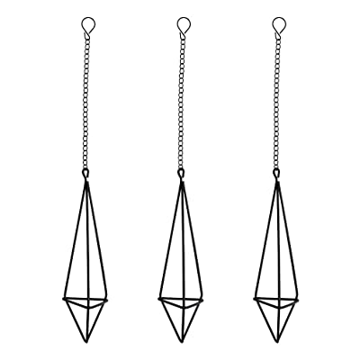 Nydotd 3 Pack Hanging Air Plant Holder Himmeli for Tillandsia Airplants Display (with Chains), Rustic Style Freestanding Wall Hanging Geometric Metal Tillandsia Air Plants Rack (Black- Triangular): Garden & Outdoor