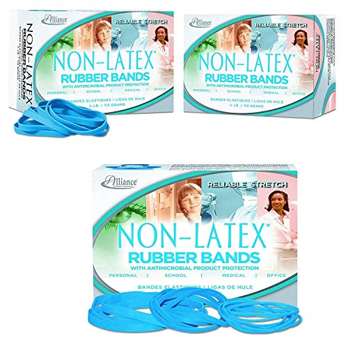 Alliance Rubber 42649 64 Non-Latex Antimicrobial Rubber Bands, 1/4 Box Contains Approx. 285 Bands (3 1/2 x 1/4, Cyan Blue)