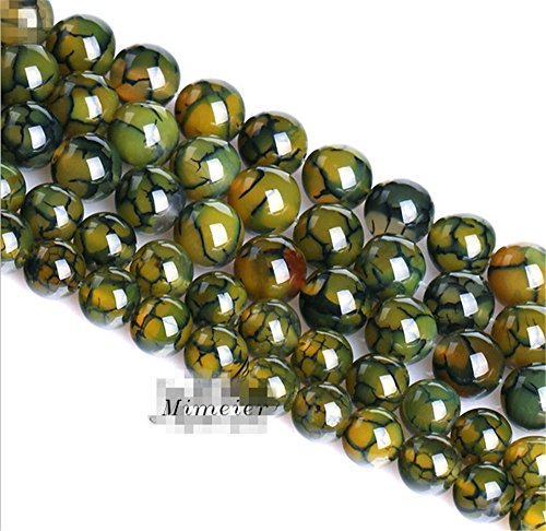 Mimeier 4-14mm Green Dragon Veins Agate Beads Strands, Round (059MN) (8mm)