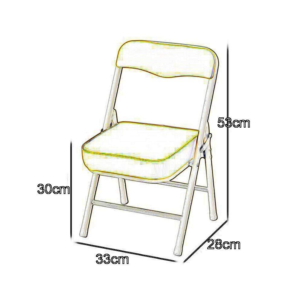 JIEER-C Fritid kontorsstol hopfällbar stol pall barn barnstol ryggstöd rörformig stålram PU lätt hållbar 33 x 28 x 53 cm hållbar stark rosa
