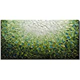 Yotree Paintings, 24x48 Inch Paintings Oil Hand Painting Painting 3D Hand-Painted On Canvas Abstract Artwork Art Wood Inside Framed Hanging Wall Decoration Green Teal Abstract Painting