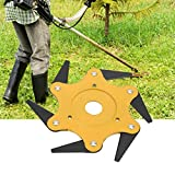 Maikouhai Lawn Trimmer Head, Manganese Steel Garden Yard Courtyard Lawn Mower Grass Eater Trimmer Head-Brush Cutter Tool 6 Steel Razors, Mounting Hole Dia 1'' (Yellow)