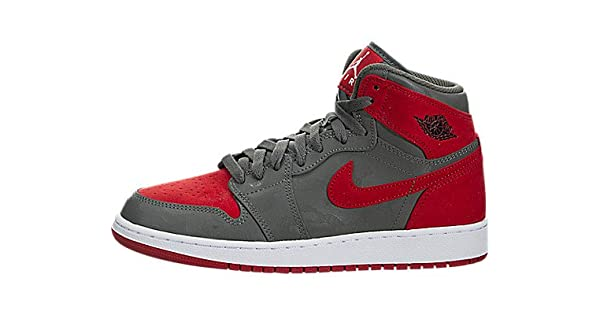 finest selection d50d6 19dee Jordan Nike Boys Air 1 Retro High Premium Basketball Shoe (GS) River RockBlack-University  Red-White 5.5Y