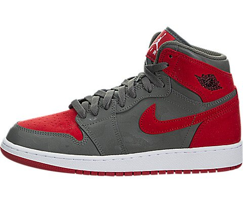 Nike Boy's Air Jordan 1 Retro High Premium Basketball Shoe (GS) River Rock/Black-University Red-White 6.5Y by Jordan