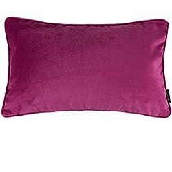"McAlister Plush Matt Velvet 12x18"" Oblong Pillow Cover | Fuchsia Magenta Pink | Classic Modern Accent Decor Cushion Case"