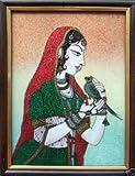 Princes & Parrot, Gem Stone Art Painting, Handicraft Painting