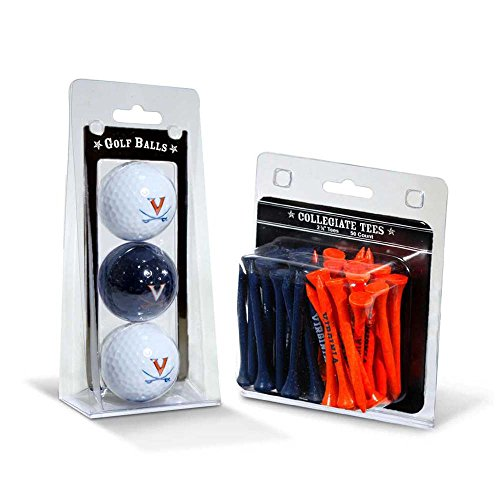 NCAA Virginia Cavaliers 3 Golf Balls And 50 Golf Tees Virginia Cavaliers Golf Ball