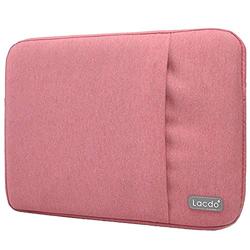 Lacdo 13 Inch Waterproof Fabric Laptop Sleeve Case Compatible Old MacBook Air 13 / MacBook Pro 13.3-Inch Retina 2012-2015/12.9 ipad Pro, HP Asus Dell Acer Chromebook Ultrabook Notebook Bag, Pink