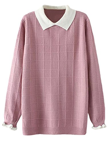 Minibee Women's Pan Collar Knitted Sweater Casual Pullover Sweatshirt Style1 Pink M (Sweater Japan)