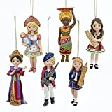 Bundle Pack of 12, Kurt Adler 5-5.25'' Resin Internationl Girl Ornaments: France, Italy, United Kingdom, Thailand, Africa and Russia 6 Assorted