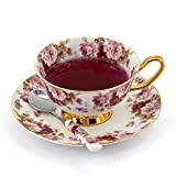 NDHT Bone China Teacups/Coffee Cups & Saucers Sets with Spoons-10.2Oz for Home, Restaurant,Royal Classic,White & Red,with a gift Box