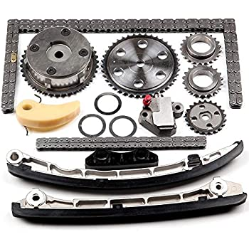 ECCPP L3K9-12-614 Timing Chain Kit Tensioner Guide Rail Crank Gear Cam Gear Oil Pump Replacement for Mazda 2.3L Turbo Engine Camshaft VVT Acuator 2006-2013