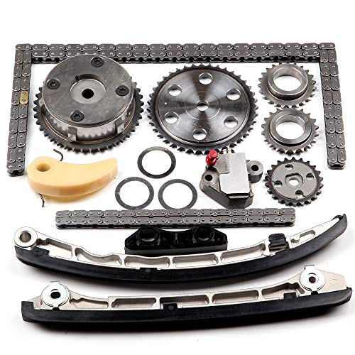 ECCPP L3K9-12-614 Timing Chain Kit Tensioner Guide Rail Crank Gear Cam Gear Oil Pump Replacement for Mazda 2.3L Turbo Engine Camshaft VVT Acuator 2006-2013 ()
